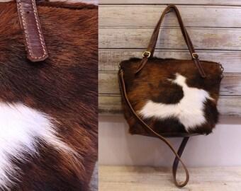 Cowhide purse, cowhide crossbody bag, cow hide leather handbag
