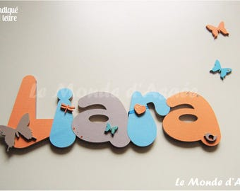 Name personalized wooden - door Plaque - or wall decor kids butterfly, dragonfly, heart - Liara