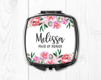 Personalized Maid of Honor Gift Sister Wedding Gift for Maid of Honor Compact Mirror Maid of Honor Gift Purse Mirror Pink Coral Floral