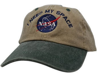 Nasa I NEED MY SPACE Embroidered 2-Tone Washed Cotton Cap - Khaki Cap