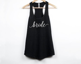 Bride Tank Top, Silver Glitter, Bride Gift, Gift for Bride, Wedding Tank Top, Wedding Shirt, Bride Shirt