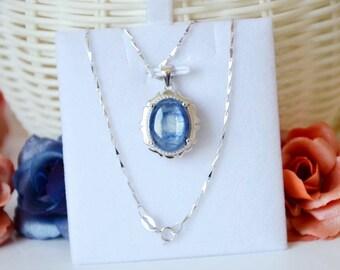 Blue Kyanite Necklace,Oval Gemstone Pendant,Sterling Silver Necklace,Crystals Pendant Necklace,For Men or Women KN80118093