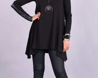 Leather details tunic,Women Tunic,Tunic, Black tunic, extravagant top, long sleeved tunic,Plus size top,party blouse,UrbanMood - CO-TERI-VL