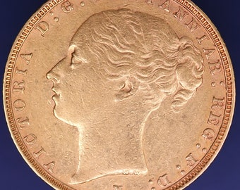 GENUINE 1886 Victoria Young head full sovereign coin, 7.98g of 22ct gold, a nice collectors investment coin [10366]