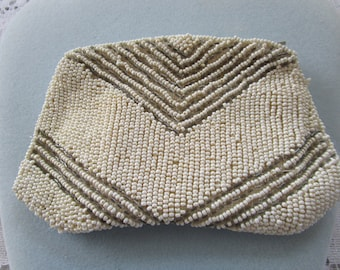 Vintage White Beaded Wristlet Purse