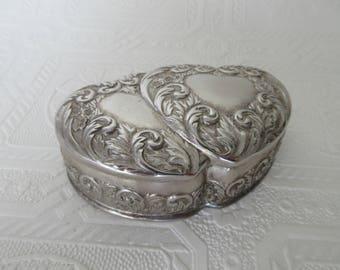 Vintage Silver Tone Double Heart Box Flowers and Scrolls Motif Trinket Box Jewelry Box