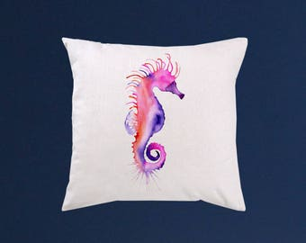 Seahorse pillow cover - Art throw pillow - Watercolor painting - Special art design - Gift idea