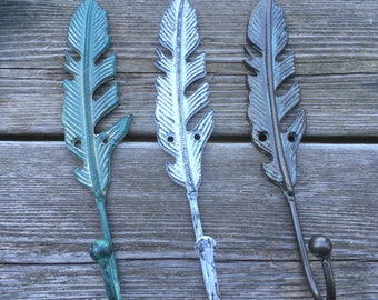 Large Feather Wall Hook - Feather Coat Hook - Feather Hook (WH06) MORE COLORS Available