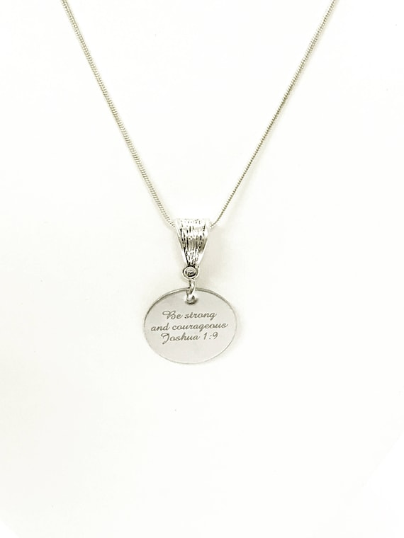 Be Strong And Courageous Scripture Necklace, Joshua 1:9 Bible Verse Encouragement Jewelry Gift For Her, Inspire Graduation Gift for Daughter