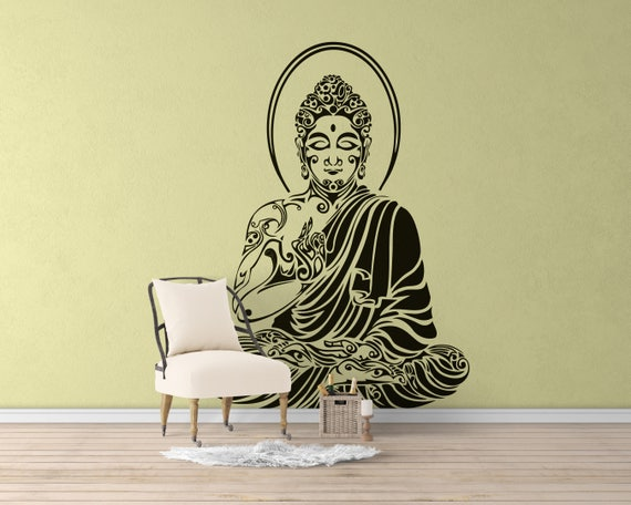 Tribal Buddha in meditation pose Vinyl Decal / Sticker, Many colors, Motivational Vinyl Poster collection for wall decor