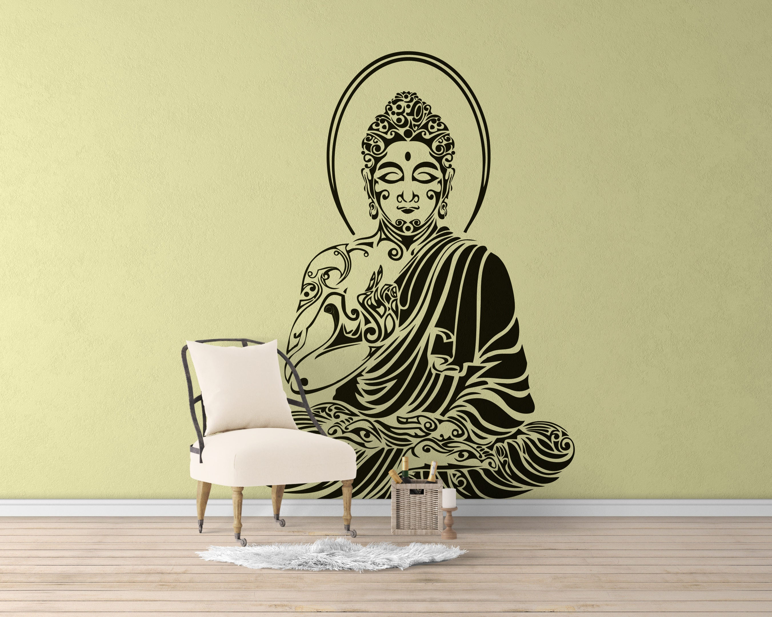 Tribal Buddha in meditation pose Vinyl Decal / Sticker, Many colors ...