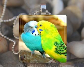 LOVEBIRDS Birds In Love Kissing Parakeets Glass Tile Pendant Necklace Keyring