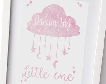 Dream Big Little One, Pink and White, Kids wall art, stars and moon, Nursery print, wall decor, girls bedroom picture (UNFRAMED)