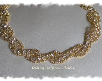 Gold Flower Girl Headband, Gold Flower Girl Headpiece, Gold Rhinestone Crystal Bridesmaid Headband, Jeweled Headpiece, No. 5050FGGHB, SALE