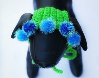 Cat Hat Crochet Small Dog Green Hat Blue Pompoms Unique Handmade Pet Accessories
