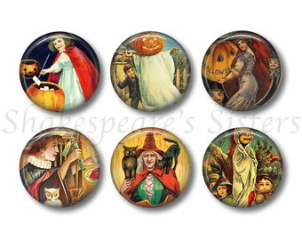 Halloween Magnets - Fridge Magnets - Witch Magnets - 6 Magnets - 1.5 Inch Magnets - Kitchen Magnets