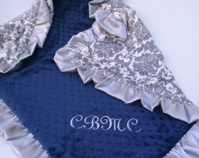 Navy Blue and Gray Damask Minky Baby Blanket
