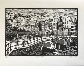 Amsterdam Canal and Row Houses Original Linocut Print