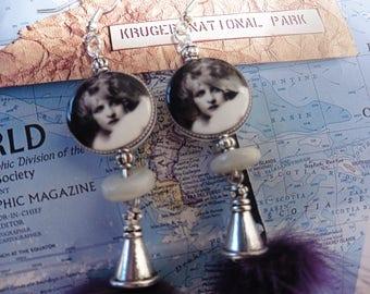 """""""Retro chic"""" earrings porcelain"""