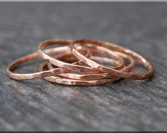 Ultra Thin Rose Gold Stacking Ring, Hammered 14k gold filled ring, Stacking Ring, delicate gold filled ring, Dainty stacking ring, gold ring