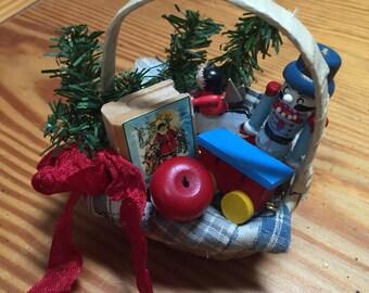 Mini basket Christmas ornament vintage style