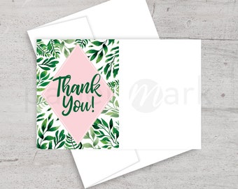Tropical Bridal Shower, Thank You Card, Thank You Note, Flora, Palm Trees, Hawaiian Party, Summer Shower, Printable