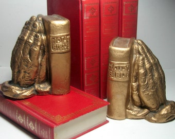 Holy Bible Bookends, Praying Hands Bookends, Vintage Book Ends, Relgious Bookends, Vintage Library Book Ends, Praying Hands Bible Bookends