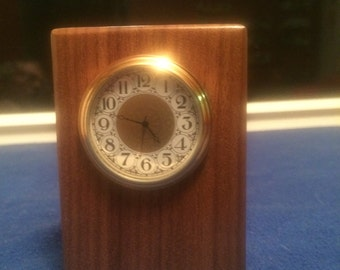Walnut desk clock- FREE SHIPPING