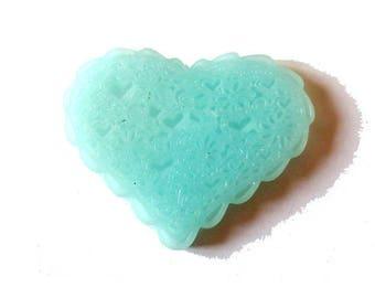 1 x cabochon embellishment resin heart lace 38mm blue GLACIER