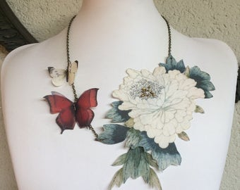 Vintage - Handmade Necklace with Beads, Cotton and Silk Organza Flower, Leaves and Butterflies - One of a Kind