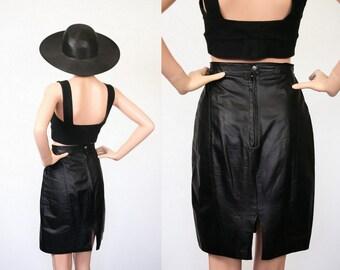 Vintage Black Leather Moto Skirt / Bombshell Wiggle Skirt / Pin Up Revival / Hourglass / Tight Bandage / Biker Chic / Small / Medium