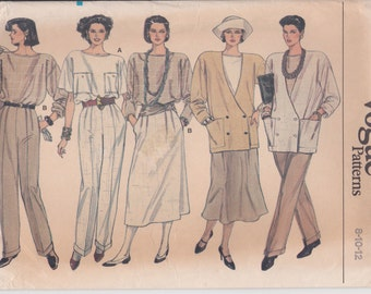 Double Breasted Jacket Pattern Loose Fitting Skirt Pants 1980s Misses Size 8 - 12 Uncut Vogue 9199