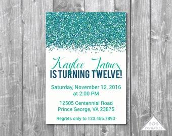 Teal Glitter Birthday Invitation, Birthday Invite, Modern Invitation, Blue Sparkly Invitation, Printable Invitation, Digital Invite