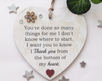 Thank you from the bottom of my heart  wooden gift heart