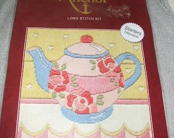 Anchor stitch on printed canvas Tea Pot - Long stitch Kit Embroidery Kit