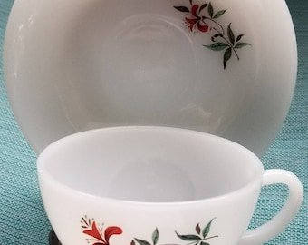 Vintage Fire King Cup and Saucer Plus 3 Dessert Plates