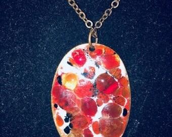 Vintage Enameld Copper Necklace, Front Back Is Different!