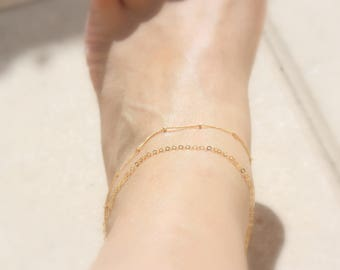 Layering anklet  - Satellite Chain & Delicate 14k gold filled Chain  / Gold anklet / Silver ankle bracelet / Thin gold ankle bracelet