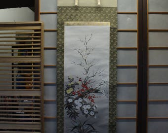 Japanese Scroll Silk Painting Colorful Cherry Blossoms And Chrysanthemum Flowers