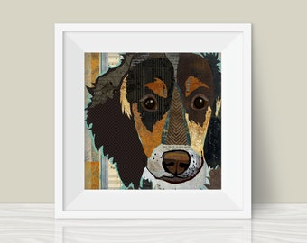 Mini Long Haired Dachshund Art Print - A Whimsical and Colorful  12x12in Home & Wall Decor Art Print and Unique Gift for Doxie Lovers