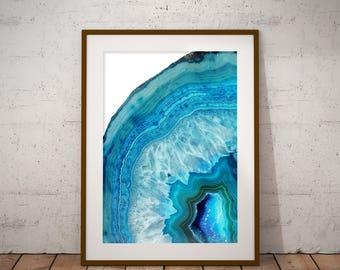 Blue Geode Printable Art Print, Agate Crystal Art Print, Crystal Wall Art, Boho Wall Art, Rock Print, Gem Mineral Art, Mineral Photography