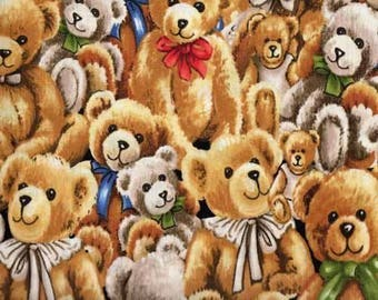 """New Bear Fabric: Fabri-Quilt Bear Hugs Stacked Bears 100% cotton fabric by the yard 36""""x43"""" (FQ13)"""