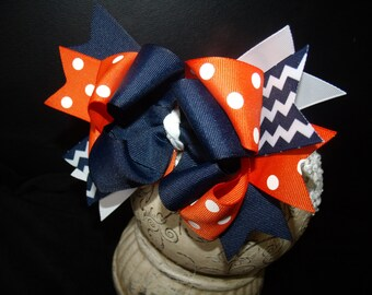 Hair Bow in Orange and Navy Hairbow Boutique Bow and Interchangeable Headband