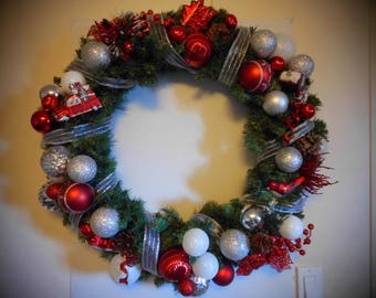 Red,White,Silver Large Wreath