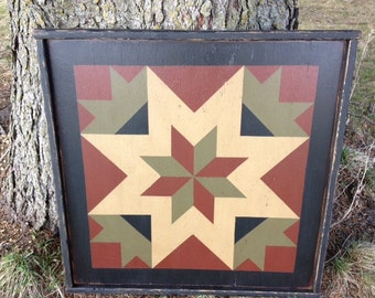 PriMiTiVe Hand-Painted Barn Quilt, 3' x 3'  My Mother's Star Pattern
