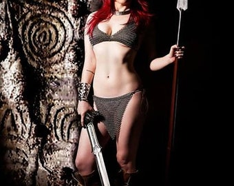 Red Sonja Cosplay Chainmail Tops and Skirts