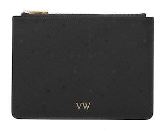 PERSONALISED MONOGRAMMED Black Genuine Leather Women's Pouch/Clutch Bag - Birthday/Anniversary Gift