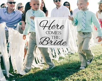 FREE SHIPPING Here Comes the Bride Sign Here Comes the Bride Banner Ring Bearer Sign Ring Bearer Ideas Flower Girl sign Ring Bearer