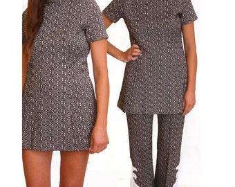 Vintage 1970s Women Two Piece Dress Bell Pants size M