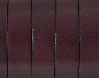Leather flat - 10mm - rigid - Brown/Maroon - by 20cm - CP1016MARF858